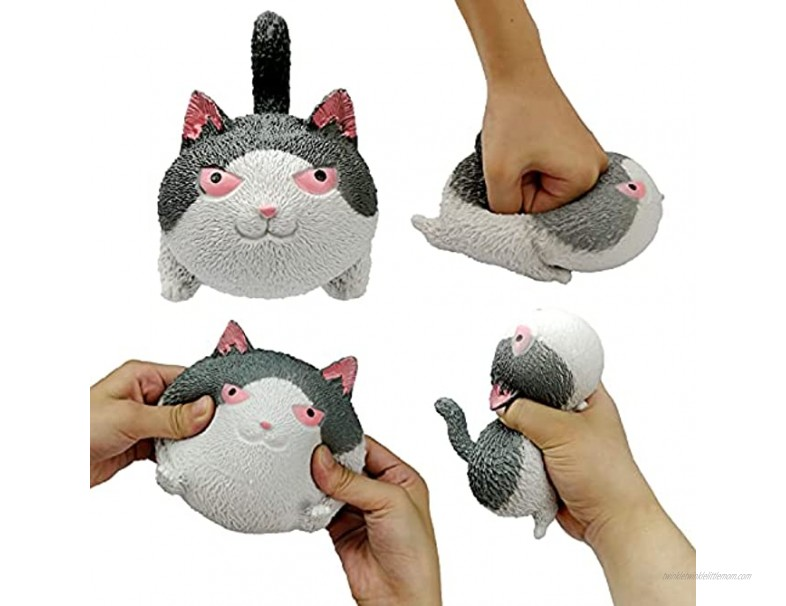 Cat-Shaped Novel Tension and Stretching Stress Balls for Children and Adults Sensory Toys and Stress Relief Balls for Anxiety ADHD and Autism Gray White