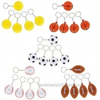 Sports Ball Keychain for Party Favors Mini Foam Balls 30 Pack