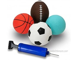 WEMOVE SPORTS Set of 4 Inflatable PVC Sport Balls with Air Pump for Toddlers & Kids Basketball Football Dodgeball Soccer
