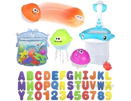 Bath Toy Sets 36 Foam Bath Letters and Numbers Floating Squirts Animal Toys Set with Fishing Net and Organizer Bag Fish Catching  Game for Babies Infants Toddlers Bathtub Time