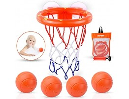MARPPY Bath Toys Bathtub Basketball Hoop for Toddlers Kids Boys and Girls with 4 Soft Balls Set & Strong Suction Cup Bathtub Shooting Game & Fun Toddlers Bath Toys for Boys or Girls