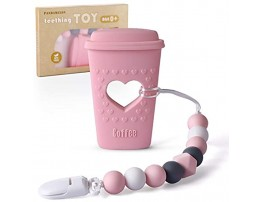 Baby Teething Toys Coffee Cup Teether with Pacifier Clip Holder Kit for Newborn Infants BPA Free Silicone for Boy Girl by Pandamelon Pink
