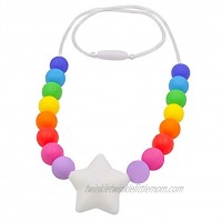 Chew Necklace for Sensory Kids Silicone Star Chewy Jewelry for Boys Girls with Autism ADHD SPD Oral Motor Baby Nursing Chewing Toy Reduce Teething Biting Fidgeting White Star