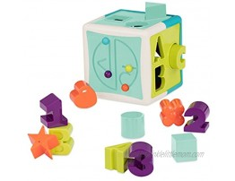 Battat Shape Sorter Cube – Sorting Toy for Learning – Shapes Letters Numbers – 12 pcs – Educational Activity Cube with Bead Maze – Toddlers Kids – 2 Years +