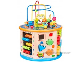 BATTOP Activity Cube Toys for Kids Wooden 8-in-1 Activity Blocks Educational Bead Maze Toys Boys Girls Activity Center Large
