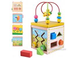 Longruner Wooden Activity CubeCenter Baby Educational Preschool Learning Toys with Bead Maze Shape Sorter