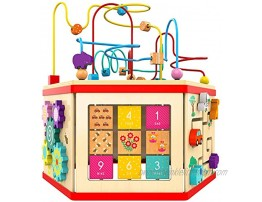 Wooden Activity Cube Bead Maze Toy Gear for Toddler Kid Counting Toys for 1year Old Baby Girls Gift