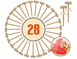 28 Pcs Wooden Hammers for Crab Mini Wooden Mallets for Breakable Chocolate Heart Pounding Toy Mallets for Kids Party Game Props Small Crab Mallet for Seafood Shellfish Shell