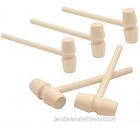 ASSUN Wooden Mallets Mini Wooden Hammer Mallet Pounding Toy Cute Beating Gavel Toys for Kids 5Pcs
