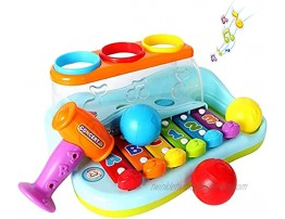 HOLA Hammering Pounding 1 Year Old Toys Ball Pound and Tap Bench Toy with Xylophone  Musical Developmental Educational Toddler Toys Age 1-2 18 24 Months 1 2 3 Year Old Baby Boy Girl Toys