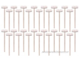 Lohoee 30Pcs Mini Wooden Hammers Mallet Pounding Toy Educational Toy for Boys Girls