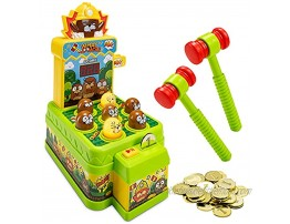 Whack A Mole Game for Kids Dual Mode Mini Electronic Arcade Game Toy with Trial and Coin Mode Interactive Pounding Toy Playset with 2 Hammers Developmental Game for Toddlers Ages 3 and Up