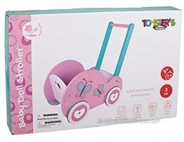 Toysters Wooden Push Walker Wagon for Toddlers | Adorable Baby Doll Carrier Buggy | Push Along Walking Toy and Doll Pram | Includes Stroller Mattress and Pillow | AT150