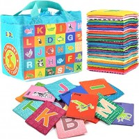 BleuZoo Soft Alphabet Cards Baby Educational Preschool Early Learning ABC Letters Flash Cards Classroom Montessori Teaching Toy for Kids Toddlers 26 Letters & Cloth Storage Bag