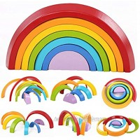 Montessori Wooden Rainbow Toy Colored Arch Bridge Blocks Set Shape Sorting Game Learning Toy Stacker Nesting Assembly Puzzle Piece