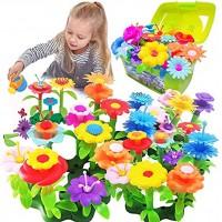 Scientoy Flower Garden Building Toys Stem Toys Build a Garden for Girls 130 PCS Flower Pretend Gardening Gift for Kids Floral Arrangement Playset for Age 3-7 Year Old Child Educational Activity