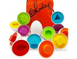 Skoolzy Egg Toy Shapes Matching Eggs STEM Toddler Toys for 1 2 3 4 Year olds Learning Colors Preschool Puzzles Games Montessori Fine Motor Skills Sorting Educational Easter Eggs with Bag