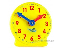 hand2mind Plastic Mini Geared Clock Learning Clock Classroom Kit Clock for Kids Learning to Tell Time Yellow Practice Clock for Kids Teaching Clock School Supplies Set of 12