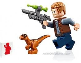 Lego Jurassic World Minifigure Owen Grady with Baby Orange Raptor Dinosaur and Tranquilizer Gun Limited Edition
