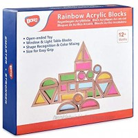 BOHS Rainbow Sensory Blocks 24 pcs Wooden Toys for Toddlers- Play on Light Table Sunny Window