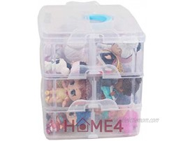 HOME4 No BPA Storage Organizer Carrying Case Box 30 Adjustable Compartments Compatible with Small Dolls LOL Toys Bead Beyblade Hot Wheels Tool Craft Sewing Jewelry Hair Accessories Clear