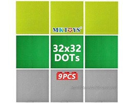 MKTOYS Classic Baseplates Base Plates for Building Bricks Mat 100% Compatible with Major Brands Building Base Accessories for Kids and Adults 10 x 10 Pack of 9 Pieces Multicolored