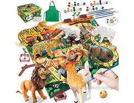 Animals Toys for Kids DIY Arts Crafts Gifts for Age 3 4 5 6 7 + Years Old Boys Girls Toddlers Painting Animals Tiger Figurines Realistic Jungle Wild Zoo Animals Figures Playset with Big Playmat