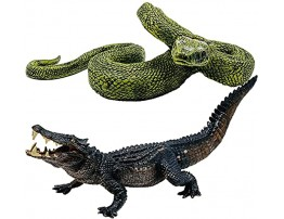 Higherbros 2Pcs Safari Animal Toys Crocodile and Python Set Natural World Action Figures Wildlife Figurines Birthday Cake Topper Party Gifts Home Decoration for Kids(Alligator & Boa Constrictor