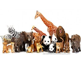 Safari Animals Figures Toys 20 Piece Realistic Plastic Animals Figurines African Zoo Wild Jungle Animals Playset with Elephant Giraffe Lion Tiger for Kids Party Supplies Cake Topper