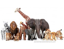 Safari Zoo Animals Figures Toys 14 Piece Realistic Jungle Animal Figurines African Wild Plastic Animals with Lion Elephant Giraffe Educational Learning Playset for Toddlers Kids Children