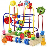 Fajiabao Bead Maze Toy for Toddlers Baby Activity Cube Fruits Roller Coaster Counting Math Abacus Montessori Toys Learning Birthday Gifts Toddler Activities for Walkers Boys Girls 1 2 3 4 Years