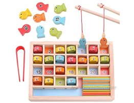 GEMEM Wooden Magnetic Fishing Game Number Fish Catching Counting Preschool Games for Kids Math Manipulatives Education Fine Motor Skills Toys for 3 4 5 6 Year Old Boy Girl