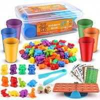 Rainbow Counting Bears Toddler Toys with Matching Sorting Cup Libra Little Dinosaur Bear Counter and Dice Math Game Education Toys 92 Piece Set Free Spoon Tongs,Storage Box,3,4,5,6,7,Kids Toy Gift