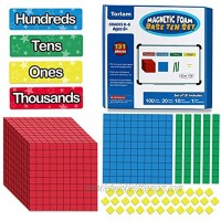 Torlam 135 PCS Magnetic Base Ten Blocks Place Value Blocks -Math Manipulatives K-3 for Elementary Classroom Number Blocks Math Counters Counting Cubes for Kids Math Base 10 for 1st 2nd 3rd Grade