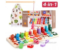 Wooden Montessori Math Puzzle Toys for Toddlers Girls and Boys Shape Sorter Game for Age 3 4 5 4 In 1 Educational Learning Toys for Fishing Counting Sorting & Stacking Best Gift for Kids