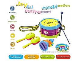 Huokan Kids Drum Set Toddlers Musical Instruments Toys with 2 Drum Sticks Sand Hammer Rattles and Horn Birthday Gift for 3-8 Years Old Boys and Girls