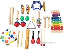Kids Musical Instruments 19 Pcs Safe material Non-Toxic Environmental Friendly Children Early Educational Musical Instrument Kit Hand drum bell Handbell Rhythm stick Double-sounding