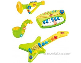 Liberty Imports 4-Piece Band Musical Toy Instruments Playset for Kids Keyboard Guitar Saxophone and Trumpet with Volume Control Green