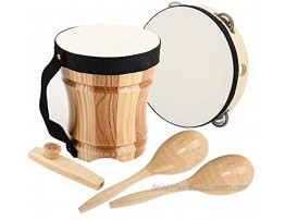 ML.ENJOY Wooden Musical Instruments Toys for Toddlers and Kids with Cube Package Kazoo,Tambourine Kid's Bongo Drum and 2 Maracas,Eco-Friendly Wood Percussion Instruments Set
