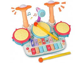 Rabing Baby Musical Instruments Toys 5 in 1 Toddler Drum & Piano Set Kids Electronic Piano Keyboard Xylophone Drum Toys Set with Microphone & Lights Learning Toys Gift for Baby Infant 3 Years Old