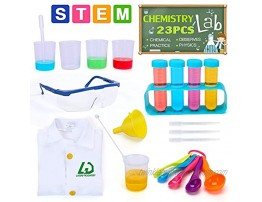Lucky Doug Kids Science Experiment Kit with Lab Coat 23PCS Scientific Experiments Tools Set for Lab Activity Experiments Classroom Costume Dress-up Role Play Ages 3+