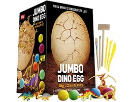 XX Jumbo Dino Egg Dig and Clay Kit Dig Up 12 Dinosaur Fossils and Dinosaur Toys – Great Gifts for Boys Girls Science Kit for Kids 4-8 Craft Kits Archaeology STEM Learning