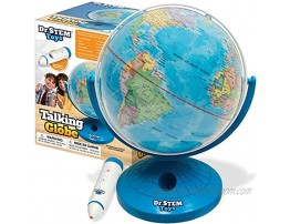 Dr. STEM Toys Talking World Globe with Interactive Stylus Pen and Stand Colorful Map for Early Learning and Teaching Includes Trivia Q&A and Music 9 Inches in Height Ages 6+
