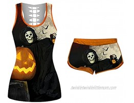 Halloween Two-Piece Outfit for Women Sleeveless Tank Top and Shorts Outfits Funny Graphic Tracksuit Workout Sets