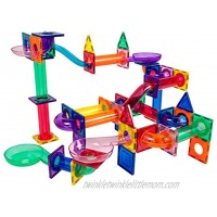 PicassoTiles Marble Run 100 Piece Magnetic Tile Race Track Toy Play Set STEM Building & Learning Educational Magnet Construction Child Brain Development Kit Boys Girls Age 3 4 5 6 7 8+ Years Old Toys