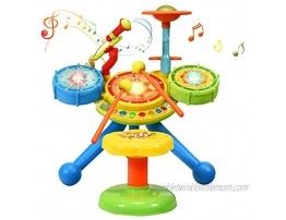 Costzon 2-in-1 Kids Electronic Musical Toy Drum Set with Microphone and Chair Spanish & English Bilingual Electronic Jazz Drum Set Suitable for Kids Babies Multicolor