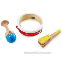 Hape Junior Percussion Set   3 Piece Wooden Percussion Instrument Set for Toddlers E0615