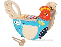 Manhattan Toy Musical Chicken Wooden Instrument for Toddlers with Xylophone Drumsticks Cymbal and Maraca  Blue