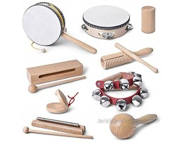 mixi Musical Instruments Toys for Toddlers Wooden Percussion Instruments for Toddlers 1-3 with Storage Bag Eco Friendly Drum Set for Kids and Toddlers