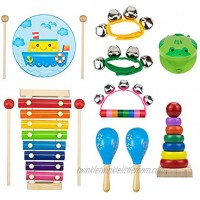 Nicunom 13 Pcs Kids Musical Instruments Wooden Percussion Instruments Wood Xylophone Toys Preschool Educational Early Learning Musical Toys Set for Children Gifts with Storage Bag